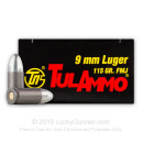 9mm Ammo In Stock - 115 gr FMJ - 9mm Ammunition by Tula Cartridge Works For Sale - 50 Rounds
