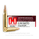 Premium 5.56x45mm Ammo For Sale - 75 Grain HPBT Ammunition in Stock by Hornady Superformance Match- 20 Rounds