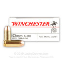 Cheap 10mm Auto Ammo For Sale - 180 Grain FMJ Ammunition in Stock by Winchester USA - 50 Rounds