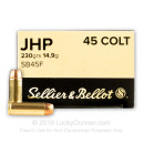 Cheap 45 Long Colt Ammo For Sale - 230 Grain JHP Ammunition in Stock by Sellier & Bellot - 50 Rounds