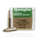 17 HMR Ammo For Sale - 17 gr AccuTip-V - Remington Varmint Ammunition In Stock - 50 Rounds