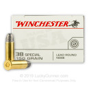 38 Special Ammo For Sale - 150 gr LRN - Winchester USA Ammunition - 50 Rounds