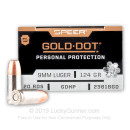 Premium 9mm +P Ammo For Sale - 124 Grain JHP Ammunition in Stock by Speer Gold Dot - 200 Rounds