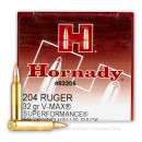 Premium 204 Ruger Ammo For Sale - 32 Grain V-Max Ammunition in Stock by Hornady Superformance - 50 Rounds