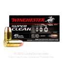 Premium 45 ACP Ammo For Sale - 160 Grain Lead-Free FMJ Ammunition in Stock by Winchester Super Clean - 50 Rounds