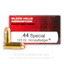 Premium 44 Special Ammo For Sale - 125 Grain HoneyBadger Ammunition in Stock by Black Hills - 50 Rounds