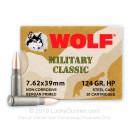 Cheap Wolf WPA  Military Classic 7.62x39 Ammo For Sale - 124 grain HP hollow point Ammo Online - 20 Rounds