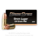 Bulk 9mm Ammo - 124 grain FMJ - Blazer Brass For Sale