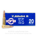 Cheap 7.62x54r Ammo For Sale - 150 gr SP-BT Ammunition In Stock by Prvi Partizan - 20 Rounds
