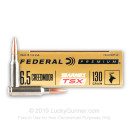 Premium 6.5 Creedmoor Ammo For Sale - 130 Grain Barnes TSX Ammunition in Stock by Federal - 20 Rounds