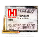 22 Hornet Ammo For Sale - 35 gr V-Max Ammunition In Stock by Hornady - 25 rounds