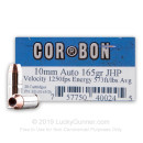 Premium 10mm Auto Ammo For Sale - 165 Grain JHP Ammunition in Stock by Corbon - 20 Rounds
