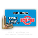 32 ACP Ammo For Sale - 71 gr FMJ Prvi Partizan Ammunition - 1,000 Rounds