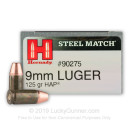 Cheap 9mm Luger Ammo For Sale – 125 grain JHP Ammunition in Stock by Hornady Steel Match - 50 Rounds