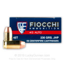 45 ACP Ammo For Sale - 230 gr JHP Fiocchi Ammunition In Stock