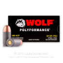 Bulk 380 Auto Ammo In Stock - 94 gr FMJ - 380 ACP Ammunition by Wolf WPA For Sale - 1000 Rounds