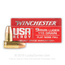 Premium 9mm Ammo For Sale - 115 Grain FMJ FN Ammunition in Stock by Winchester USA Ready - 50 Rounds