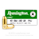40 S&W Ammo For Sale - 180 gr MC Remington UMC 40 cal Ammunition In Stock