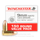 Cheap 9mm Ammo For Sale - 124 Grain FMJ Nato Ammunition in Stock by Winchester - 150 Rounds