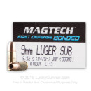 Cheap 9mm Ammo For Sale - 147 Grain Bonded JHP Ammunition in Stock by Magtech - 50 Rounds