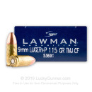 Premium 9mm Ammo For Sale - +P 115 Grain TMJ Ammunition in Stock by Speer Lawman Clean-Fire - 50 Rounds