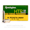 Premium 44 Mag Ammo For Sale - 240 Grain SJHP Ammunition in Stock by Remington HTP - 50 Rounds