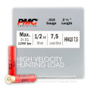 "Cheap 410 Gauge Ammo For Sale - 2-1/2"" 1/2oz. #7.5 Shot Ammunition in Stock by PMC High Velocity Hunting Load - 25 Rounds"
