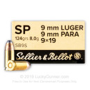 Sellier & Bellot 9mm Ammo - 124 gr Soft Point