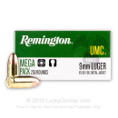 9mm Ammo For Sale - 115 gr MC - Remington UMC Ammunition In Stock - 250 Rounds