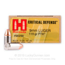 9mm Defense Ammo For Sale - 115 gr JHP FTX Hornady Ammunition In Stock - 250 Rounds