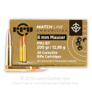 Premium 8mm Mauser Ammo For Sale - 200 Grain FMJBT Ammunition in Stock by PPU Match - 20 Rounds