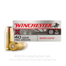 40 S&W Ammo - 180 gr FMJ - Winclean 40 cal Ammunition - 50 Rounds