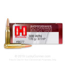 308 Win Superformance Match Ammo In Stock  - 178 gr Hornady BTHP Ammunition For Sale Online - 20 Rounds