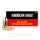 45 ACP Ammo For Sale - 230 Grain FMJ 45 Auto Ammunition In Stock by Federal American Eagle - 50 Rounds