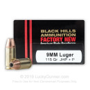 Cheap 9mm Luger Ammo For Sale - +P 115 Grain JHP Ammunition in Stock by Black Hills - 20 Rounds