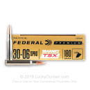 Premium 30-06 Ammo For Sale - 180 Grain Barnes TSX Ammunition in Stock by Federal - 20 Rounds