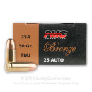 Cheap 25 Auto Ammo For Sale - 50 gr FMJ PMC Ammo Online - 50 Rounds