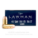 40 S&W Indoor Range Ammo - 180 gr TMJ Clean-Fire - Speer Lawman 40 cal Ammunition - 50 Rounds