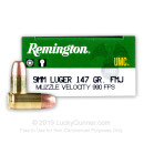 Bulk 9mm Ammo For Sale - 147 Grain MC Ammunition in Stock by Remington UMC - 500 Rounds