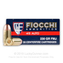 Bulk 45 ACP Small Pistol Primer Ammo For Sale - 230 gr FMJ Fiocchi Ammunition In Stock - 500 Rounds