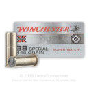 Cheap 38 Special Ammo For Sale - 148 Grain Super Match Wad Cutter Ammunition in Stock by Winchester Super-X - 50 Rounds