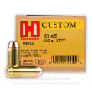 Bulk 50 Action Express Ammo In Stock - 300 gr JHP - 50 AE Ammunition by Hornady For Sale - 200 Rounds