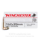 Brass Cased 7.62x39 Ammo In Stock - 123 gr FMJ - 7.62x39 Ammunition by Winchester USA For Sale - 20 Rounds