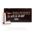 25 ACP - 35 gr JHP - Speer Gold Dot Ammunition - 20 Rounds