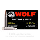 Bulk 223 Rem Ammo For Sale - 55 Grain FMJ Ammunition in Stock by Wolf WPA Polyformance - 1000 Rounds