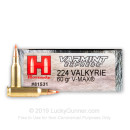 Premium 224 Valkyrie Ammo For Sale - 60 Grain V-MAX Ammunition in Stock by Hornady Varmint Express - 20 Rounds