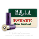 "Cheap 16 Gauge Ammo For Sale - 2-3/4"" 2-1/2 Dram 1 oz. #8 Shot Ammunition in Stock by Estate Heavy Game Load - 25 Rounds"