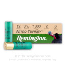 "Premium 12 Gauge Ammo For Sale - 3-1/2"" 2 oz. #6 Shot Ammunition in Stock by Remington Nitro Turkey - 10 Rounds"