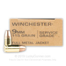 Cheap 9mm Service Grade Ammo For Sale - 115 Grain FMJ Ammunition in Stock by Winchester - 50 Rounds