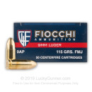 9mm Ammo For Sale - 115 gr FMJ - Reloadable Fiocchi Ammunition Online